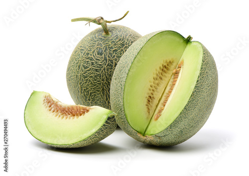 Netted melon on white background Fototapeta