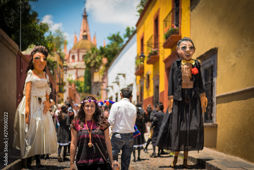Woman in the Beautifull town of San Miguel de Allende celebrating a wedding with Canvas Print