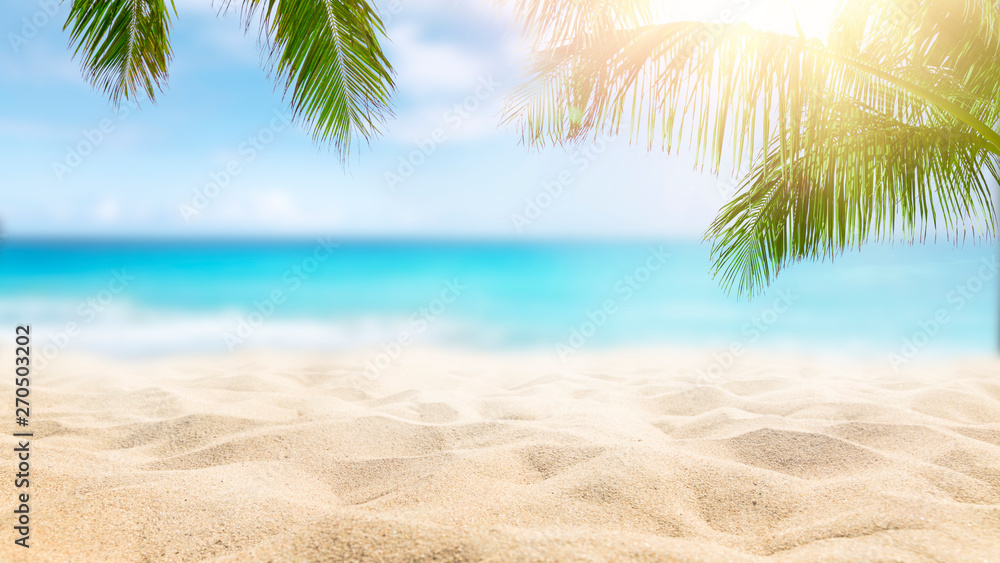 Sunny tropical Caribbean beach with palm trees and turquoise water, island vacation, hot summer day - obrazy, fototapety, plakaty