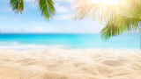 Fototapeta Fototapety z morzem do Twojej sypialni -  Sunny tropical Caribbean beach with palm trees and turquoise water, island vacation, hot summer day