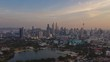 sunset time kuala lumpur cityscape downtown aerial panorama 4k timelapse malaysia