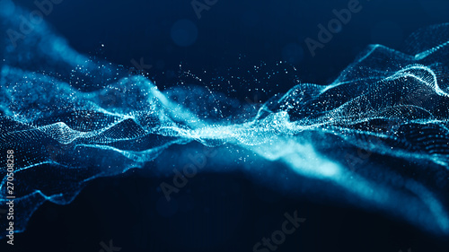 Fotografía  Abstract blue color digital particles wave with bokeh and light background