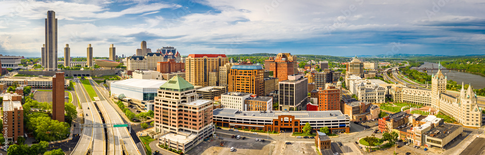 Fototapety, obrazy: Aerial panorama of Albany, New York downtown. Albany is the capital city of the U.S. state of New York and the county seat of Albany County