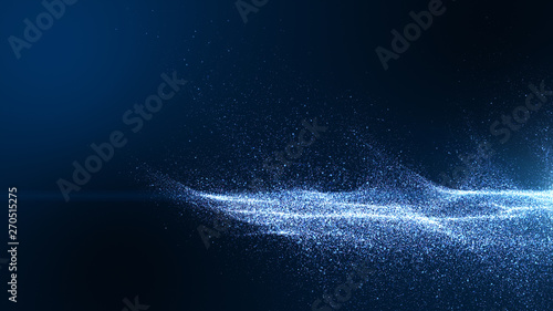 Fotografia Dark blue digital background signatures with small particles gathered in waves, blue shadows spread throughout the area and areas with deep clarity