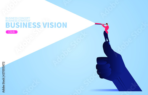 Fényképezés Business vision concept, businessman standing on giant's thumb using telescope t