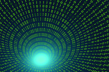 Binary code tunnel.Abstract technology binary code background.Digital binary data and secure data concept