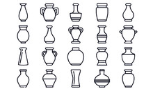 Vase Line Icons Vector Design ...