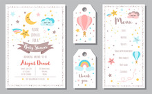 Baby Shower Invitation Templates Banners Menu, Thank You Moon Star Rainbow Vector Illustration