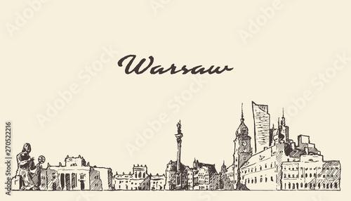 Fototapeta Warsaw skyline Poland hand drawn vector sketch obraz