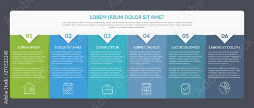 Obraz Infographic Template with 6 Steps - fototapety do salonu