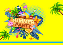 Illustration Of Summer Time Poster Wallpaper For Fun Party Invitation Banner Template