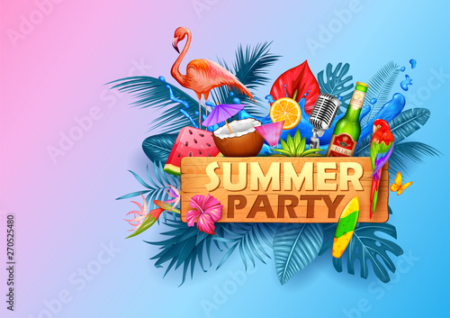 Illustration Of Summer Time Poster Wallpaper For Fun Party