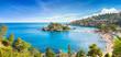 Leinwandbild Motiv Panoramic view of Isola Bella small island near Taormina, Sicily, Italy.