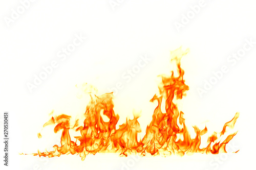 Keuken foto achterwand Vlam Fire flames isolated on white background.