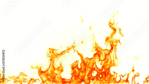 Fire flames isolated on white background. Fototapete