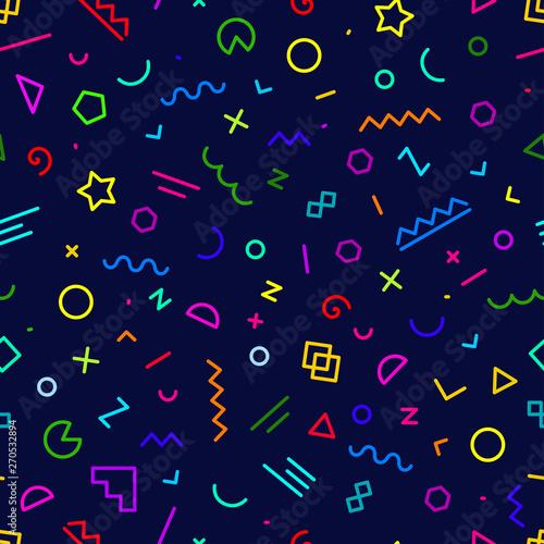 Türaufkleber Künstlich Trendy geometric memphis hipster pattern vector, seamless pattern