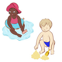 Afro American Child On The Beach