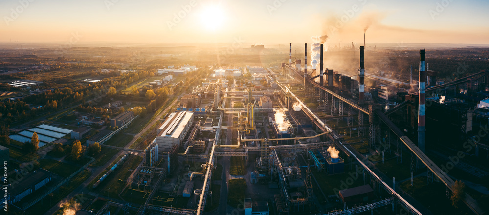 Fototapety, obrazy: industrial landscape with heavy pollution produced by a large factory