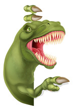 A Scary Dinosaur T Rex Cartoon Character Peeking Around A Sign And Pointing