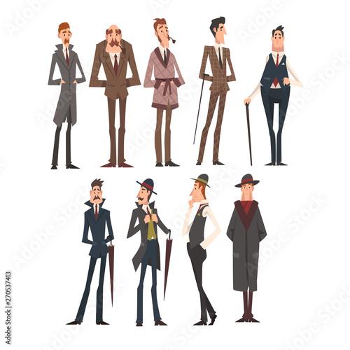 Photo Victorian Gentlemen Characters Set, Rich and Successful Men in Elegant Suits Vec