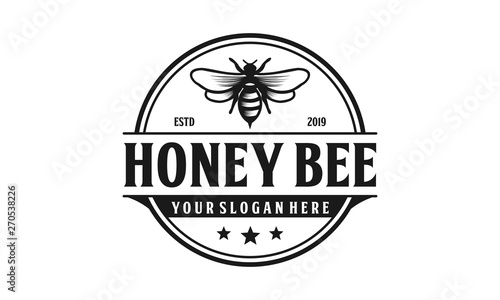 Canvas Honey bee retro logo design