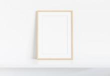 Wooden Frame Leaning On White Shelve In Bright Interior Mockup 3D Rendering