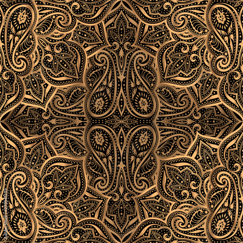 Luxury pattern vector seamless. Arabic mandala paisley royal ...