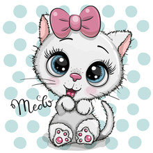 Cartoon White Kitten With A Pink Bow On A Dots Background