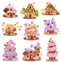 Set Of Different Gingerbread Houses. Vector Illustration On White Background.
