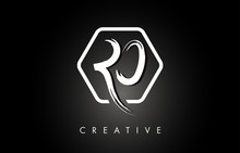 RO R O Brushed Letter Logo Design With Creative Brush Lettering Texture And Hexagonal Shape
