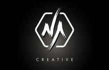 NA N A Brushed Letter Logo Des...
