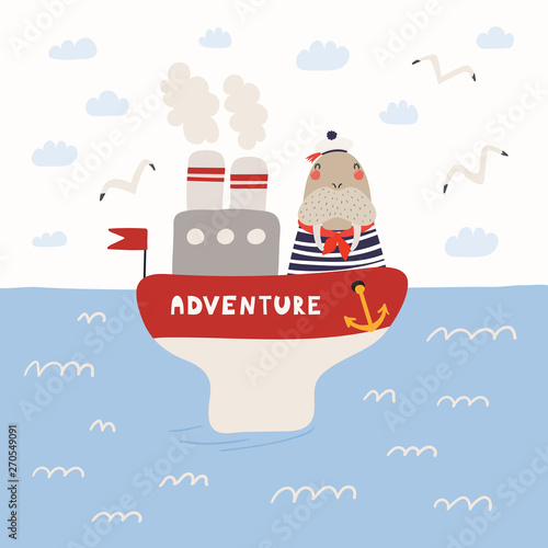 Printed kitchen splashbacks Illustrations Hand drawn vector illustration of a cute walrus sailor on a ship, in the open sea, with seagulls, clouds. Scandinavian style flat design. Concept for children print.