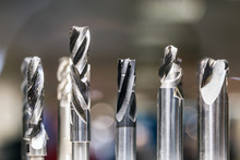 Drill Bits In Various Sizes On The Drill Bit Rack For Metalworking