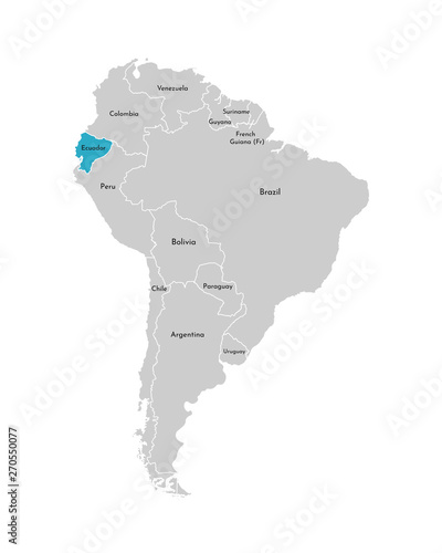 Fotografía  Vector illustration with simplified map of South America continent with blue contour of Ecuador