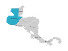 Vector Illustration With Simplified Map Of Central America Region With Blue Contour Of Guatemala. Grey Silhouettes, White Outline Of States' Border