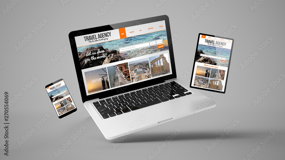 Fototapeta flying tablet, laptop and mobile phone showing travel agency responsive web design