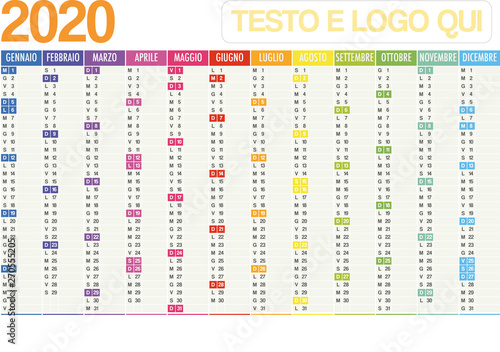 Fototapeta 2020 Italian planner calendar with vertical months and note space on white background	 obraz na płótnie