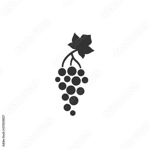 Grape with leaf black vector icon. Simple grape flat glyph symbol Fototapete