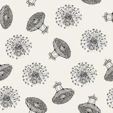 Beautiful Floral Seamless Pattern With Dandelion Flower Heads And Blowballs Hand Drawn In Antique Style. Botanical Vector Illustration For Fabric Print, Wallpaper, Wrapping Paper, Backdrop.