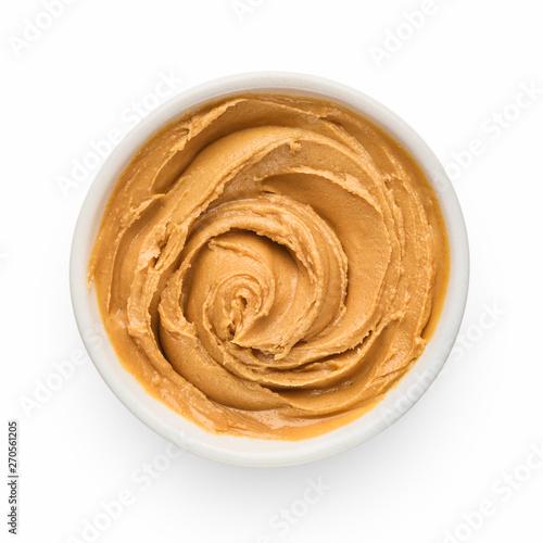Fototapeta Peanut butter on white obraz na płótnie