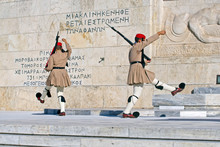 Back Of The Evzone Soldiers At The Post Near The Grave Of The Unknown Soldier In Athens On Syntagmatos Square, The Changing Of The Guard