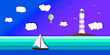 Yacht sailing on opened sea. Summer holidays concept. Little Boat in blue ocean.