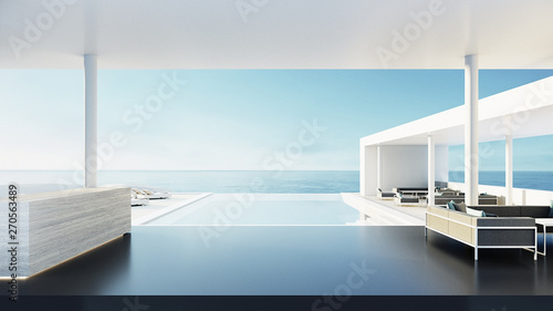 Fototapeta Reception desk of resort & hotel / 3D rendering obraz
