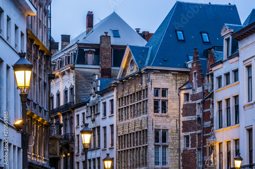 Photo sur Toile Antwerp old classical city architecture with lighted lampposts in the city of antwerp, antwerpen, Belgium
