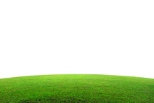 Green Grass Field On Mountain Isolated On White Background. Beautiful Grassland With Slope. ( Clipping Path )