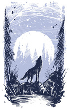 Graphic Silhouette Howling Wolf Standing On Stone In Forest. On Full Moon With Snow Background. Line Art Style. Nature Landscape.