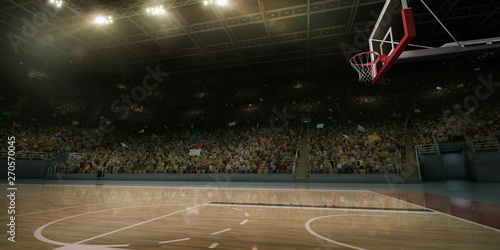 Obraz Professional basketball arena. Tribunes with sport fans. 3D illustration - fototapety do salonu