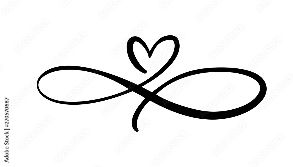 Fototapeta Love heart In the sign of infinity. Sign on postcard to Valentines day, wedding print. Vector calligraphy and lettering illustration isolated on a white background