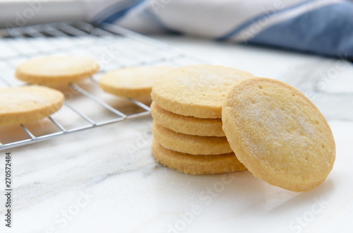Canvas Freshly baked homemade butter shortbread biscuits dusted with sugar