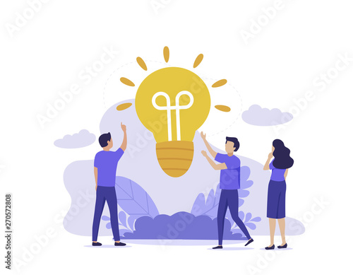 Fototapety, obrazy: People group brainstorming new idea, light lamp teamwork concept. Creative team with raised hands thinking solution for the business. Modern UI flat illustration.